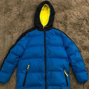 Blue Champion Puffer Jacket With Yellow Lining!